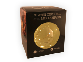 Glazen deco bol met LED lampjes - Koperdraad