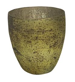 Glazen theelichthouder - Vaas - 11 cm hoog en breed - Oud Groen