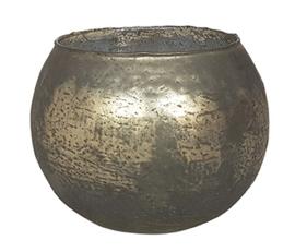 Glazen theelichthouder - Bolvormig - XL - Goud