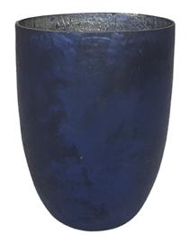 Glazen theelichthouder - Vaas - 22 cm hoog en 16 cm breed - Oud Blauw