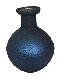 Glazen vaasje - bolvormig - Oud  Blauw