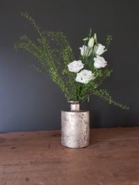 Glazen vaasje - cilindervormig - Oud Zilver