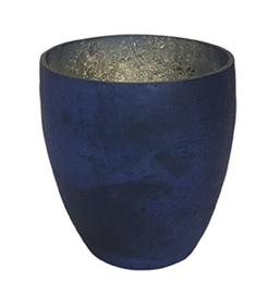 Glazen theelichthouder - Vaas - 11 cm hoog en breed - Oud Blauw