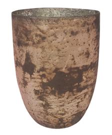 Glazen theelichthouder - Vaas - 22 cm hoog en 16 cm breed - Oud  Roze