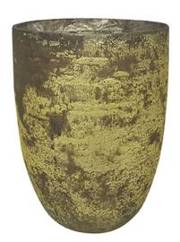 Glazen theelichthouder - Vaas - 22 cm hoog en 16 cm breed - Oud Groen