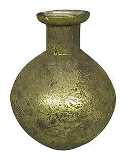 Glazen vaasje - bolvormig - Oud  Groen