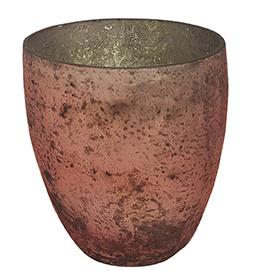 Glazen theelichthouder - Vaas - 14,5 x 15,5 - Oud Roze
