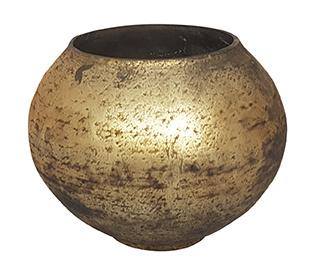 Glazen theelichthouder - Bolvormig - Large - Oud Goud