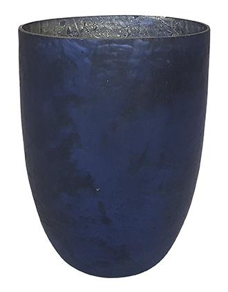 Glazen theelichthouder - Vaas - XL - Oud Blauw