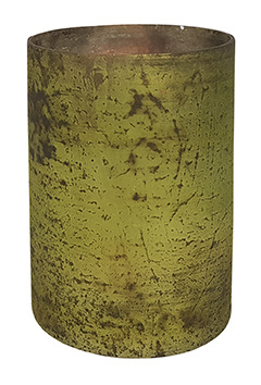 Glazen Theelichthouder-Cilinder ø 10cm - Oud Groen