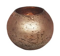 Glazen theelichthouder - Bolvormig - Medium - Oud Roze