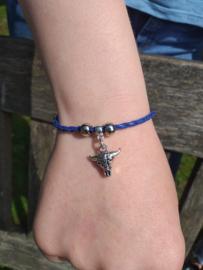 2 Love it Buffalo Blue - Armband - Leer - Metaal - Polsmaat 18 - 23 CM - Blauw - Zilverkleurig