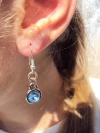 2 Love it Bling LB - Oorbellen - Oorhangers - 4 cm - Metaal - Nikkelvrij - Blauw - Zilverkleurig