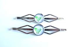 2 Love it Birdie - Schuifspeldjes - Haarspeld - Kinderen - Set van 2 - Lengte 7 cm - Lood & Nickelvrij - Groen - Wit - Zilverkleurig