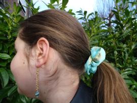 Scrunchie Blue Feather