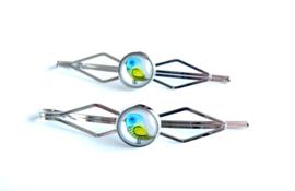 2 Love it Vogel - Schuifspeldjes - Haarspeld - Kinderen - Set van 2 - Lengte 7 cm - Lood & Nickelvrij - Blauw - Geel - Wit - Zilverkleurig