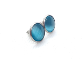 2 Love it Serenity Aqua - Oorbellen - Doorsnee 12 MM - Natuursteen - RVS - Blauw - Zilverkleurig
