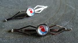2 Love it Bird - Schuifspeldjes - Haarspeld - Kinderen - Set van 2 - Lengte 7 cm - Lood & Nickelvrij - Blauw - Rood - Wit - Zilverkleurig