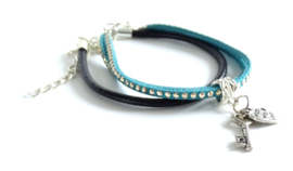 2 Love it Key to Love - Armbandenset van 2 - Leer - Suède veter met studz - Groen - Zwart - Zilverkleurig