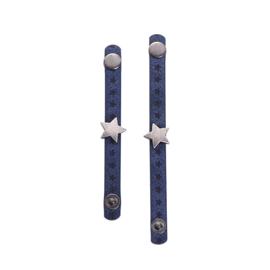 2 Love it One Star Blue - Sjaal riem - Leer - Set van 2 - 10 CM en 12 CM - Blauw - Zilverkleurig