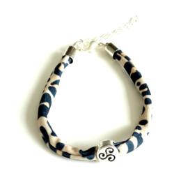 2 Love it Leopard Beige/Black - Armband - Verstelbaar in maat - Elastisch - Dierenprint - DQ metaal - Beige - Zilverkleurig - Zwart