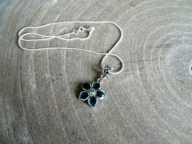 2 Love it Flower Groen - Ketting - 41 cm - Metaal - Groen - Zilverkleurig