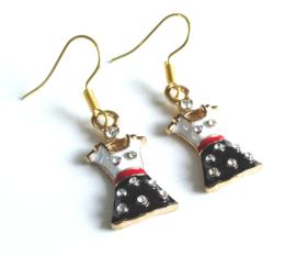 2 Love it Dress Black - Oorbellen - Oorhangers - Kinderen - 4 CM - Metaal - Rood - Zwart - Wit -Goudkleurig