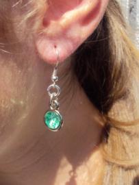 2 Love it Bling G - Oorbellen - Oorhangers - 4 cm - Metaal - Nikkelvrij - Groen - Zilverkleurig