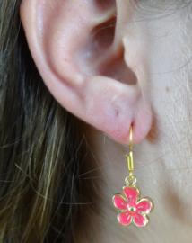 2 Love it Flower WOW - Oorbellen - Oorhangers - Kinderen - 3 CM - Metaal - Roze -Goudkleurig