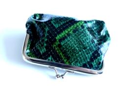 Snake Green - Portemonnee - Beugelportemonnee - Knip portemonnee - Wallet - 11 x 8 cm - PU leer - Groen - Zwart - Zilverkleurig