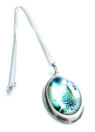 2 Love it Floral Lavendel - Ketting - Hanger 30 x 40 mm - Ovaal - Metaal - Blauw - Groen - Paars - Wit - Zilverkleurig