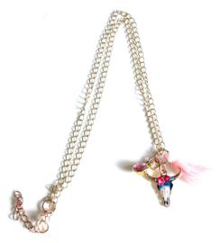 2 Love It Buffel Ibiza - Ketting - Hanger - Metaal - Zink Alloy - Nickelvrij - Lengte ketting 50 cm + 5m verlenging - Blauw - Roze - Wit - Rosegold