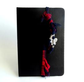 2 Love it Butterfly Red - Elastiek - Koord - Agenda - Journal - Planner- Rood - Wit - Zilverkleurig