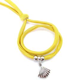 2 Love it Bella's YellowGold - Armband - Elastisch stitched lint - 50 cm - Verstelbaar in maat - Geel - Goud - Zilverkleurig