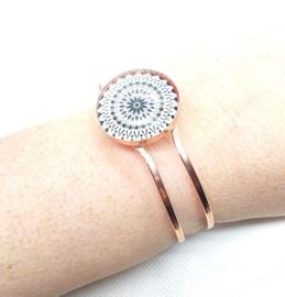 2 Love it Mandala RoseGold - Armband - Metaal - Scharniersluiting - Rosegold - Zwart - Wit