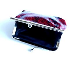 Snake Red - Portemonnee - Beugelportemonnee - Knip portemonnee - Wallet - 11 x 8 cm - PU leer - Rood - Zwart - Zilverkleurig