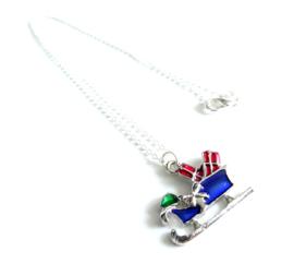 2 Love it Arreslee - Ketting - Kerst - 46 CM -  Rood - Blauw - Groen - Zilverkleurig