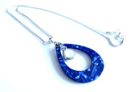 2 Love It Fine B - Ketting - Hanger - Metaal - Resin - Zirkonia - Lengte ketting 46 cm - Blauw - Wit - Zilverkleurig