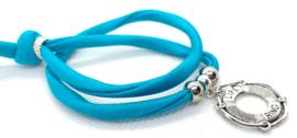 2 Love it Bella's Reddingsboei - Armband - Elastisch stitched lint - 50 cm - Verstelbaar in maat - Blauw - Zilverkleurig