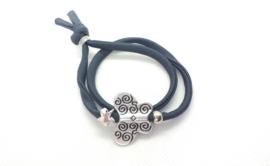 2 Love it Bella's Vlinder - Armband - Elastisch stitched lint - 50 cm - Verstelbaar in maat - Grijs - Zilverkleurig
