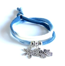 2 Love it Winters - Armband - Gerecycled textiel - 50 CM lang - Blauw -  Wit - Zilverkleurig