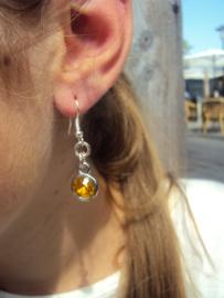 2 Love it Bling GO - Oorbellen - Oorhangers - 4 cm - Metaal - Nikkelvrij - Geel - Oranje - Zilverkleurig