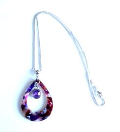 2 Love It Fine P - Ketting - Hanger - Metaal - Resin - Zirkonia - Lengte ketting 46 cm - Bruin - Lila - Paars - Roze - Wit - Zilverkleurig