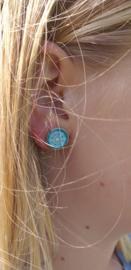 2 Love it Zeeuwse Knop Blauw - Oorbellen - Oorstekers - Metaal - Doorsnee 12 mm - Blauw - Wit - Zilverkleurig