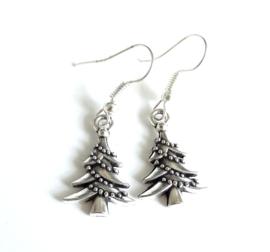 2 Love it Kerstboom - Oorbellen - Oorhangers - Metaal - 3 cm - Zilverkleurig
