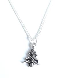 2 Love it Kerstboom - Ketting - Kerst - 46 CM -  Zilverkleurig