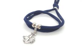 2 Love it Bella's Anker - Armband - Elastisch stitched lint - 50 cm - Verstelbaar in maat - Blauw - Zilverkleurig