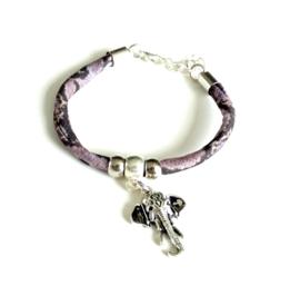 2 Love it Snake Lila/Black - Armband - Verstelbaar in maat - Elastisch - Dierenprint - DQ metaal - Lila - Zilverkleurig - Zwart