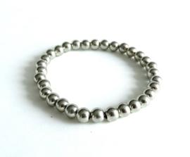 2 Love it BASIC Silver - Armband - Elastisch - Polsmaat 18 - 20 cm - Elastiek - Acryl - Zilverkleurig