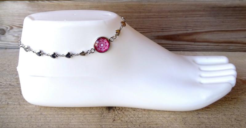 2 Love it Zeeuwse Knop Roze - Enkelbandje - Metaal - Verlengkettinkje - 22 tot 29 cm - Roze - Wit - Zilverkleurig
